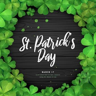 Clover leaf frame on wooden background for st. patrick's day celebration