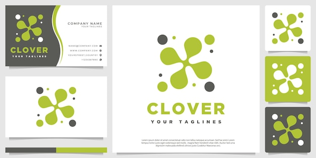 Clover leaf logo modern abstract minimalist