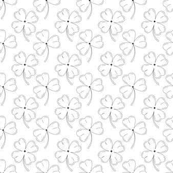 클로버 잎 원활한 패턴 검은 실루엣 흰색 배경에 고립. 행운의 네잎 클로버 또는 토끼풀 클로버. 아일랜드 성 패트릭의 날을 위한 벡터 꽃 선형 단순 끝없는 질감.