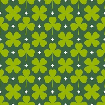 クローバーはシームレスなパターンを残します緑のシャムロック春の背景