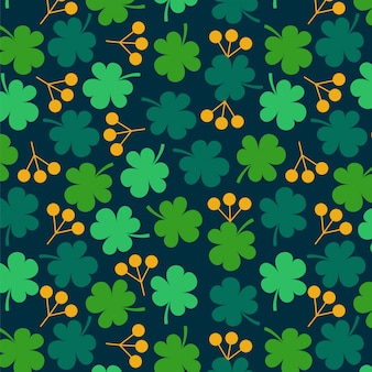 Clover leaves with berries background