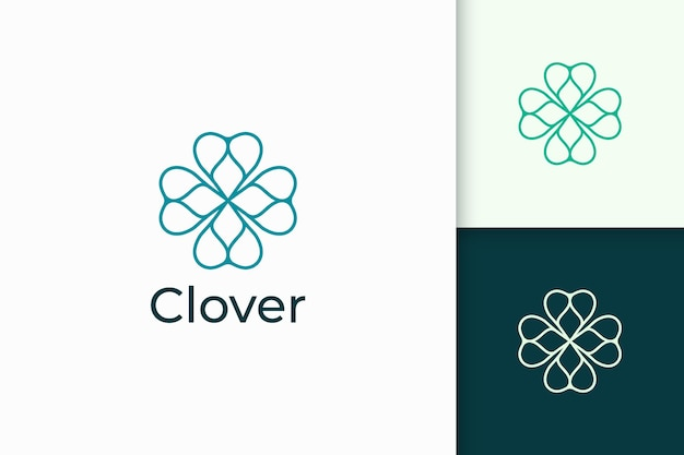 Clover logo in simple line and love shape represent lucky