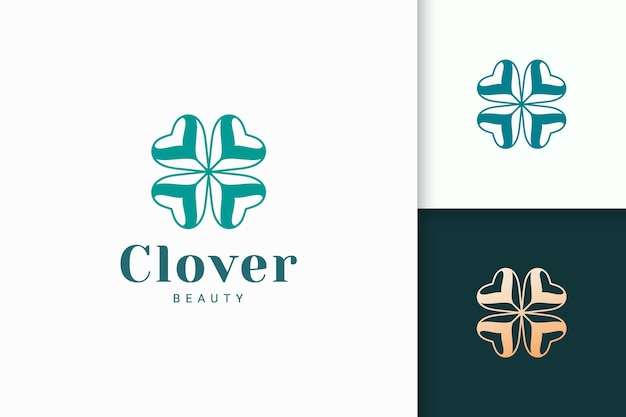Clover logo with simple love shape represent lucky