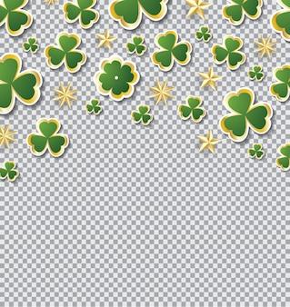 透明グリッドにコピースペースがある聖パトリックの日のクローバーパターン。ベクトルイラスト。