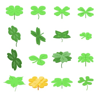 Clover  set. isometric set of clover   for web design isolated on white background