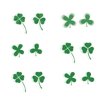 Clover set. three and four are leafy. decoration illustration.