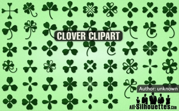 Clover silhouettes floral vector set