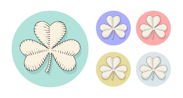 Clover for st. patrick day in engraving style. hand drawn design and element.