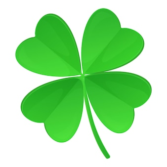 Clover with four leaves isolated on white background lucky concept in realistic cartoon style