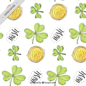 Clovers and moneys of watercolor pattern