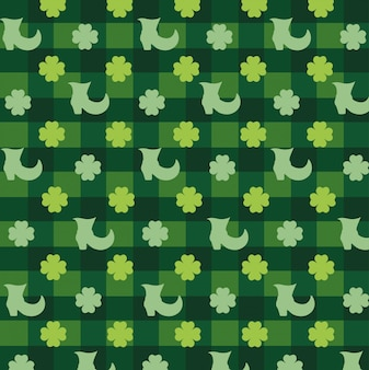 Clovers plants with boot and textures background