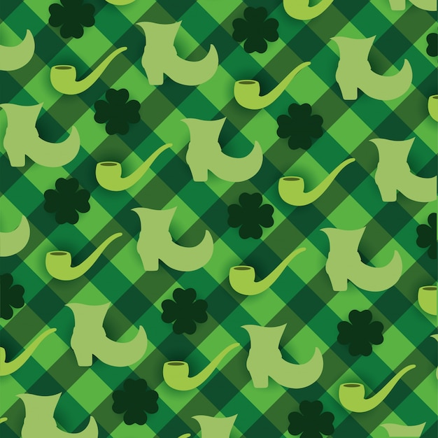 Clovers plants with boots and pipe background