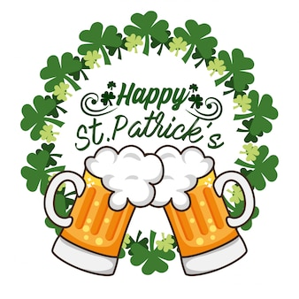 Clovers with beer glass to st patrick celebration