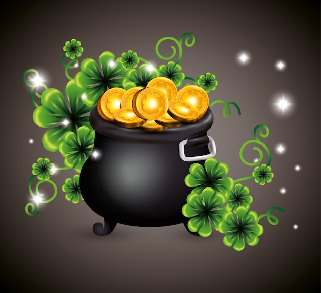 Clovers with gold coins inside cauldron for st patrick's day