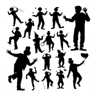 Clown attraction silhouettes.