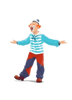 Clown, big top circus shapito clown, funfair carnival   cartoon character. retro big top circus clown in red wig and marine sailor hat, big boots and wide pants, smile mask and red nose