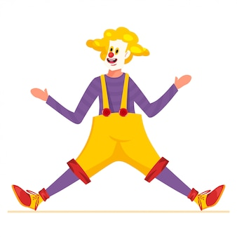 Clown character design with a yellow hair, red nose and funny costume. man dancing or doing performance.