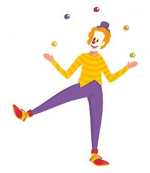 Clown character doing performance juggles balls.