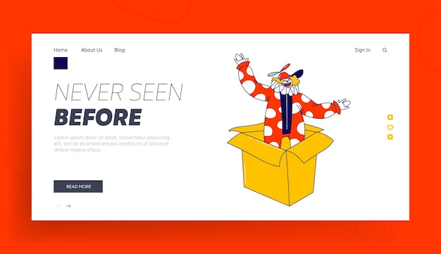 Clown character pop up from huge box landing page template