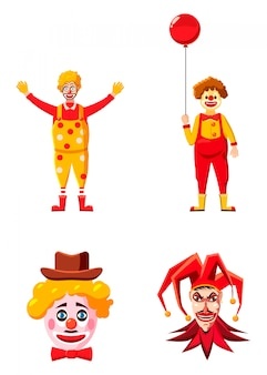 Clown character set. cartoon set of clown