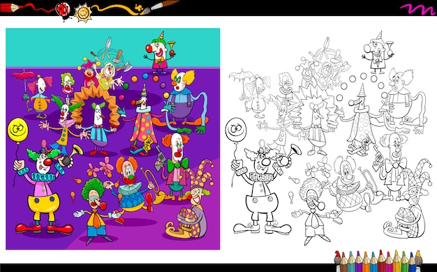 Clown characters group coloring book