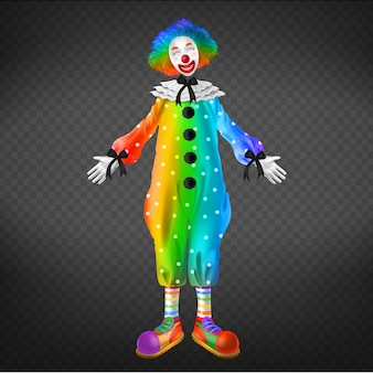 Clown in circus, party man isolated on transparent background.