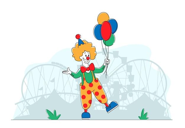 Clown comedian in amusement park