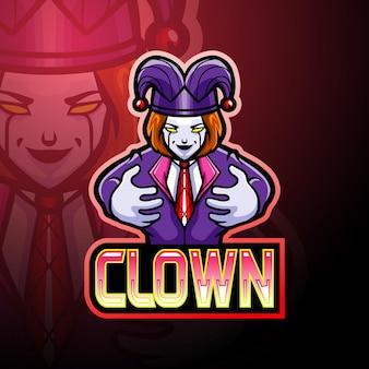 Clown e sport logo mascot design