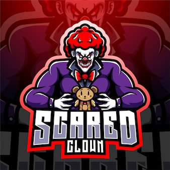 Клоун киберспорт талисман дизайн логотипа