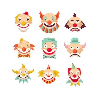 Clown faces isolated character set.