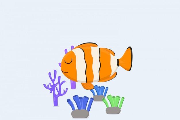 Рыба-клоун и фон коралловые рифы