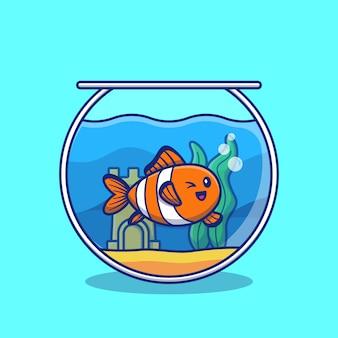 水族館漫画アイコンイラストで泳ぐカクレクマノミ。動物の魚アイコンコンセプト分離プレミアム。フラット漫画のスタイル