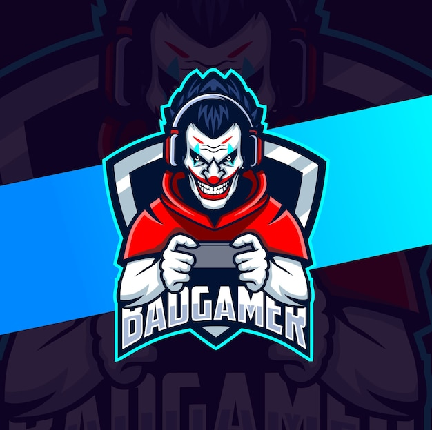 Clown gamer mascot esport lgoo design character