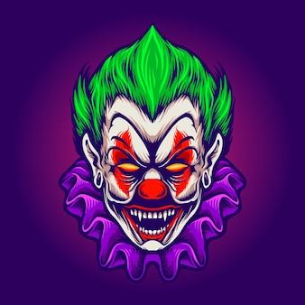 Голова клоуна джокер ужас вампира векторные иллюстрации для вашей работы логотип, футболка с изображением талисмана, наклейки и дизайн этикеток, плакат, поздравительные открытки, рекламирующие бизнес-компанию или бренды.