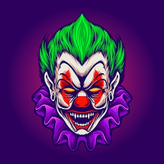 Clown head joker vampire horror vector illustrations for your work logo, mascot merchandise t-shirt, stickers and label designs, poster, greeting cards advertising business company or brands. Premium Vector