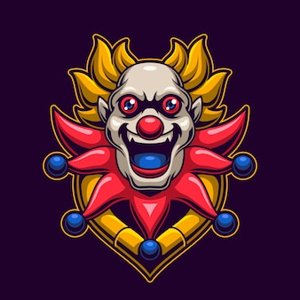 Clown head logo gaming concept