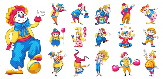 Clown icons set, cartoon style