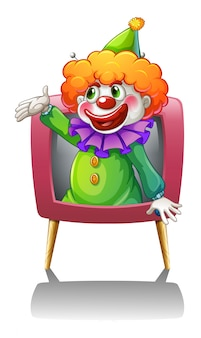 A clown inside a pink tv