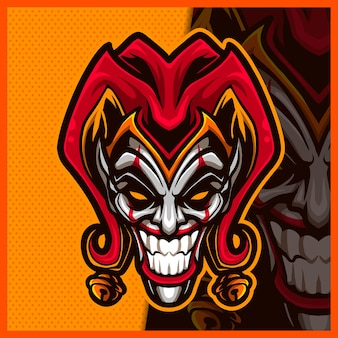 Clown jester mascot esport logo design smile clown logo for team game streamer