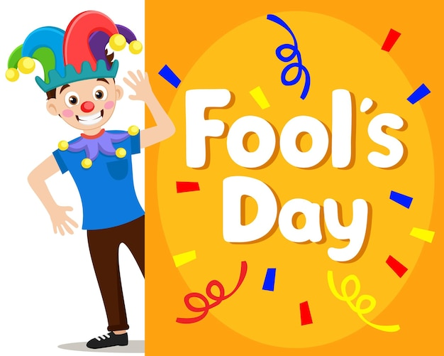 Clown joker on a white background and copy space. fools day card