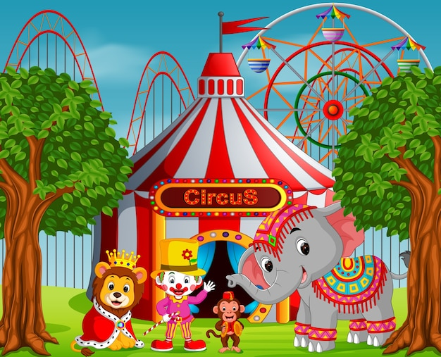 Clown and many animal with circus tent