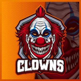 ピエロマスコットeスポーツロゴデザインイラストテンプレート、チームゲームのジョーカーロゴ