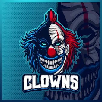 광대 마스코트 esport 로고 디자인 일러스트 템플릿, 팀 게임을위한 조커 로고