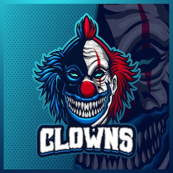 Clown mascot esport logo design illustrations   template, joker logo for team game