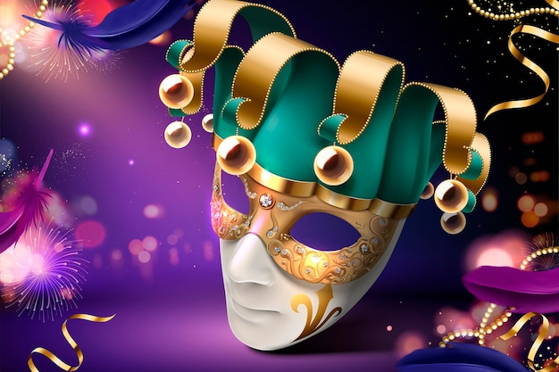 Clown mask design for carnival on purple in 3d style