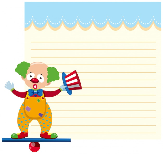 A clown on note template