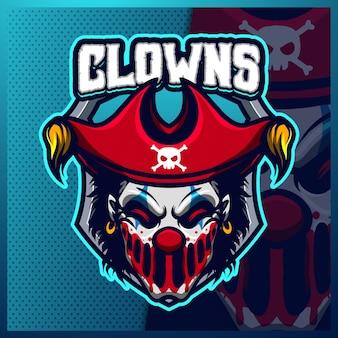 광대 해적 마스코트 esport 로고 디자인 일러스트 템플릿, 팀 게임을위한 해적 로고