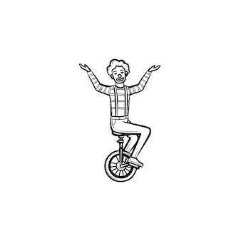 一輪自転車の手描きのアウトライン落書きアイコンに乗ってピエロ。白い背景で隔離の印刷、ウェブ、モバイル、インフォグラフィックの1つのホイールバイクベクトルスケッチイラストのサーカスアーティスト。