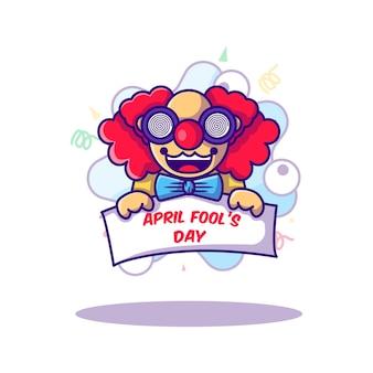 フラット漫画スタイルの愚か者の日のイラストにピエロ