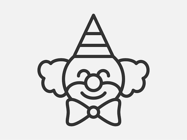 Клоун игрушка значок на белом фоне. векторная иллюстрация стиля линии.